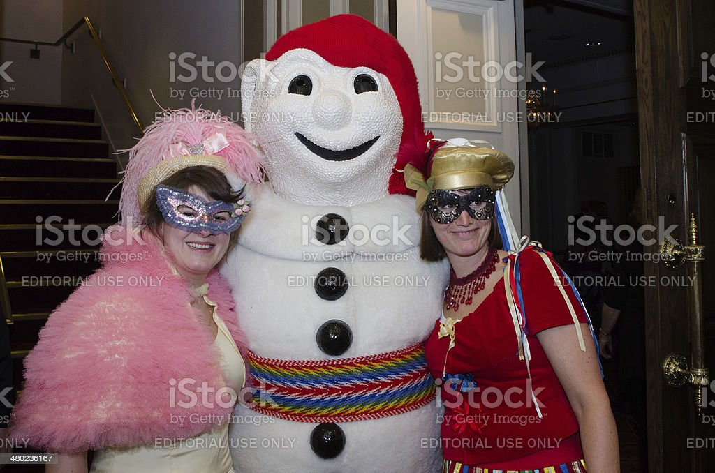 Bonhomme Carnaval with fans stock photo