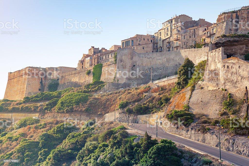 Bonifacio citadel in morning sunlight, Corsica stock photo