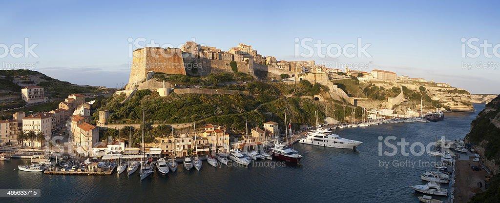 Bonifacio fortifications and harbor, Corsica, France stock photo