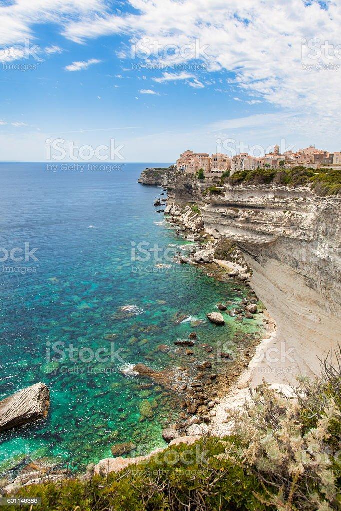 Bonifacio old town built on top of cliff rocks, Corsica stock photo