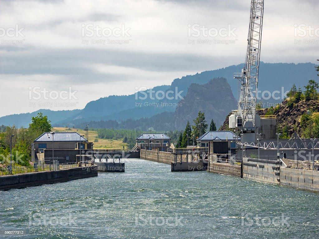 Bonneville Dam Columbia River Navigation Lock Oregon Side stock photo