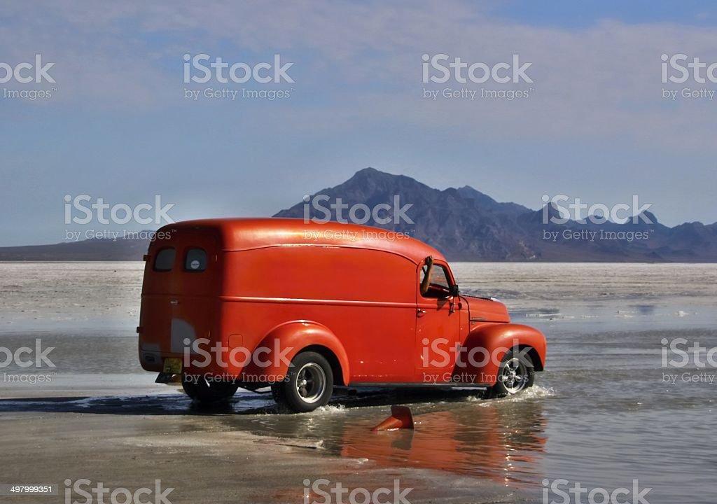 Bonneville Salt Flats in Utah with the car stock photo