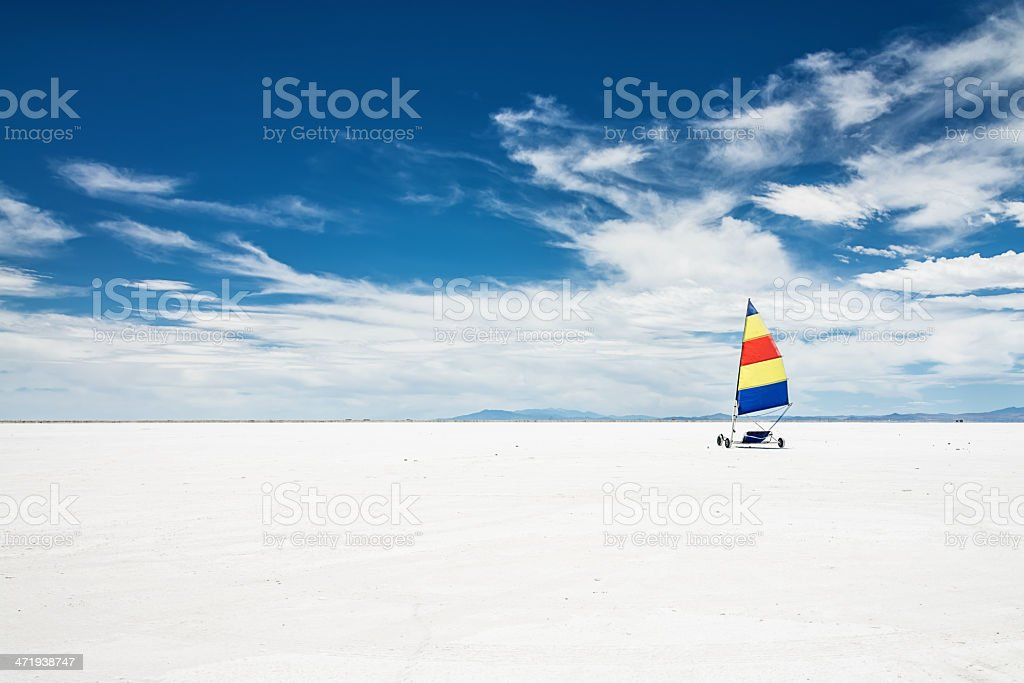 Bonneville Salt Flats Kite Buggy Utah Desert stock photo