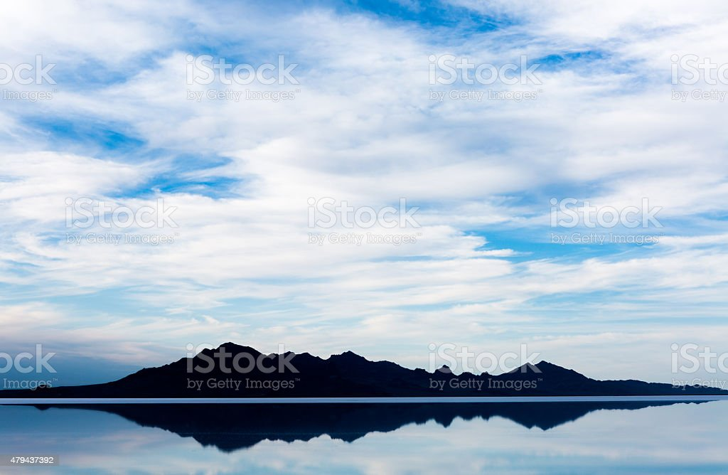 Bonneville Salt Flats rare rainfall stock photo