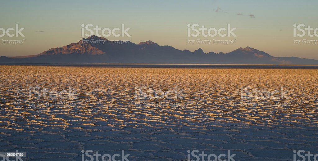 Bonneville Salt Flats Tooele County Utah Pleistocene Lake Sunset stock photo