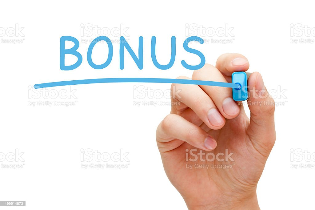Bonus Blue Marker stock photo