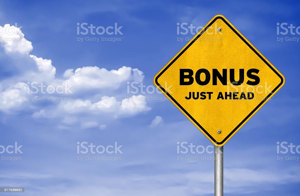 Bonus just ahead stock photo