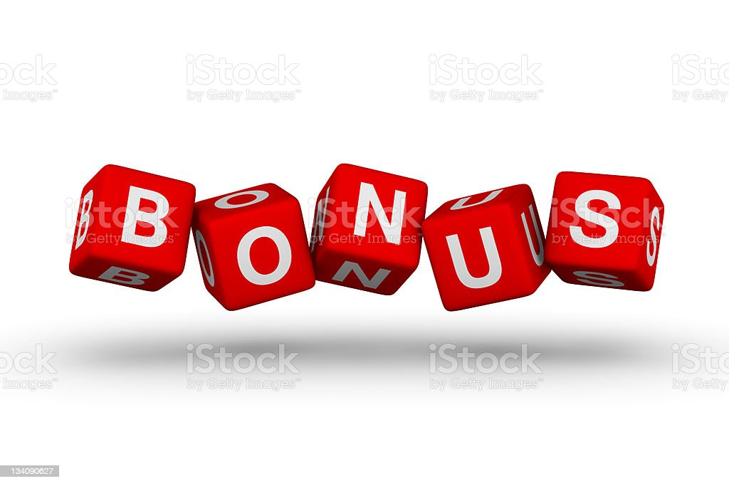 Bonus symbol on red dice with white lettering stock photo