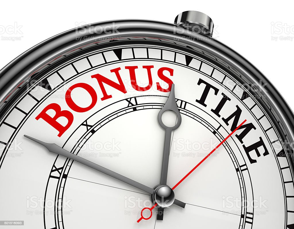 bonus time concept clock stock photo