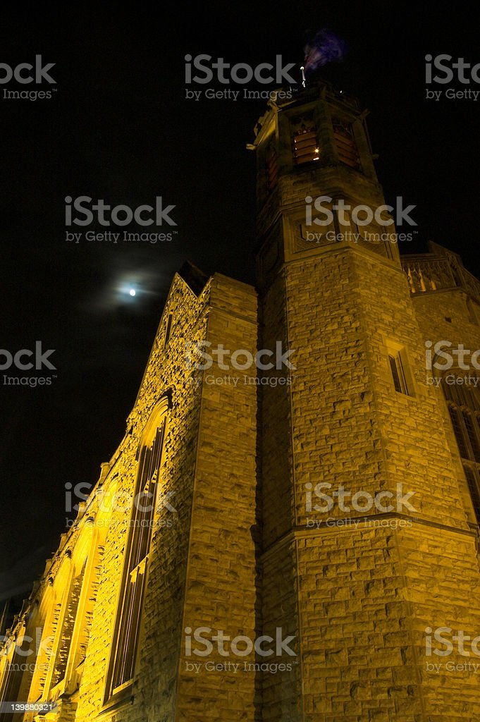 Bonython Hall And The Moon stock photo