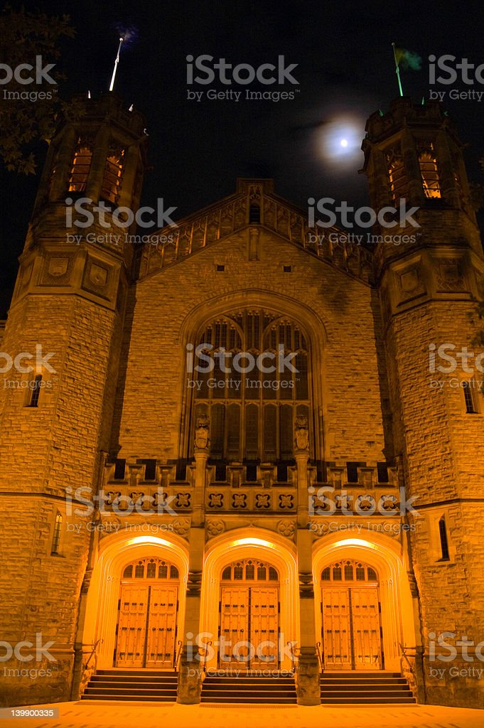 Bonython Hall and the Moon (front) stock photo