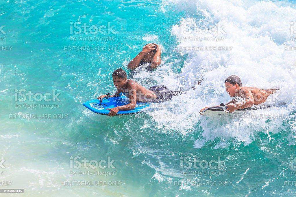 Boogie board Waikiki stock photo