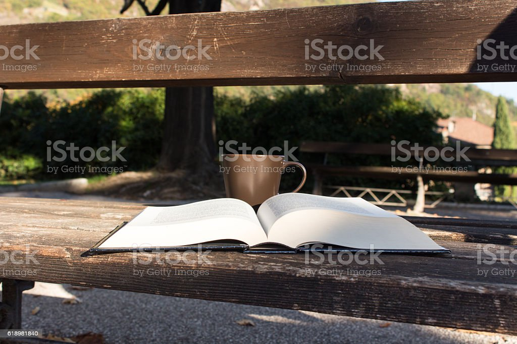 Book and coffee in the park stock photo