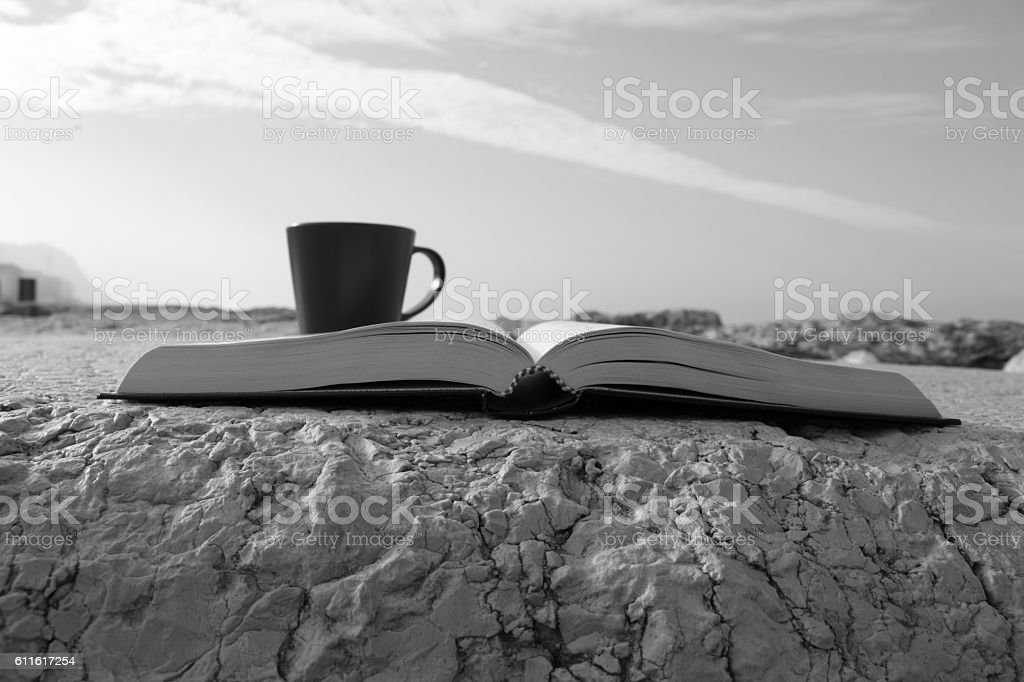 Book and coffee stock photo