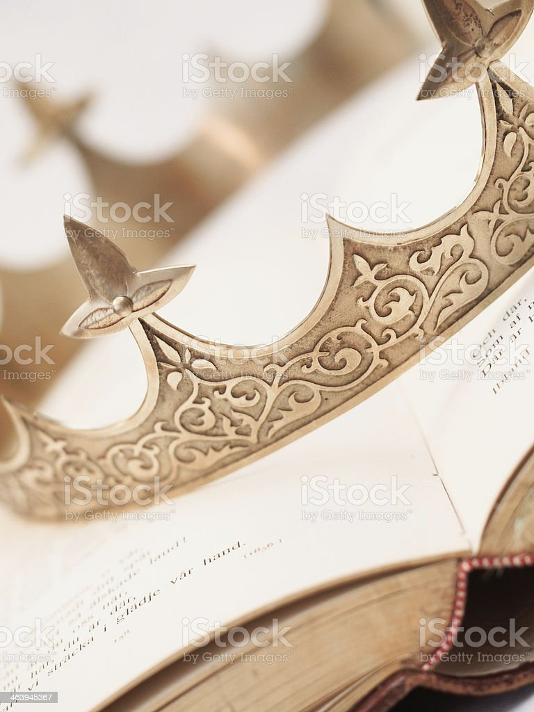 Book and Crown stock photo