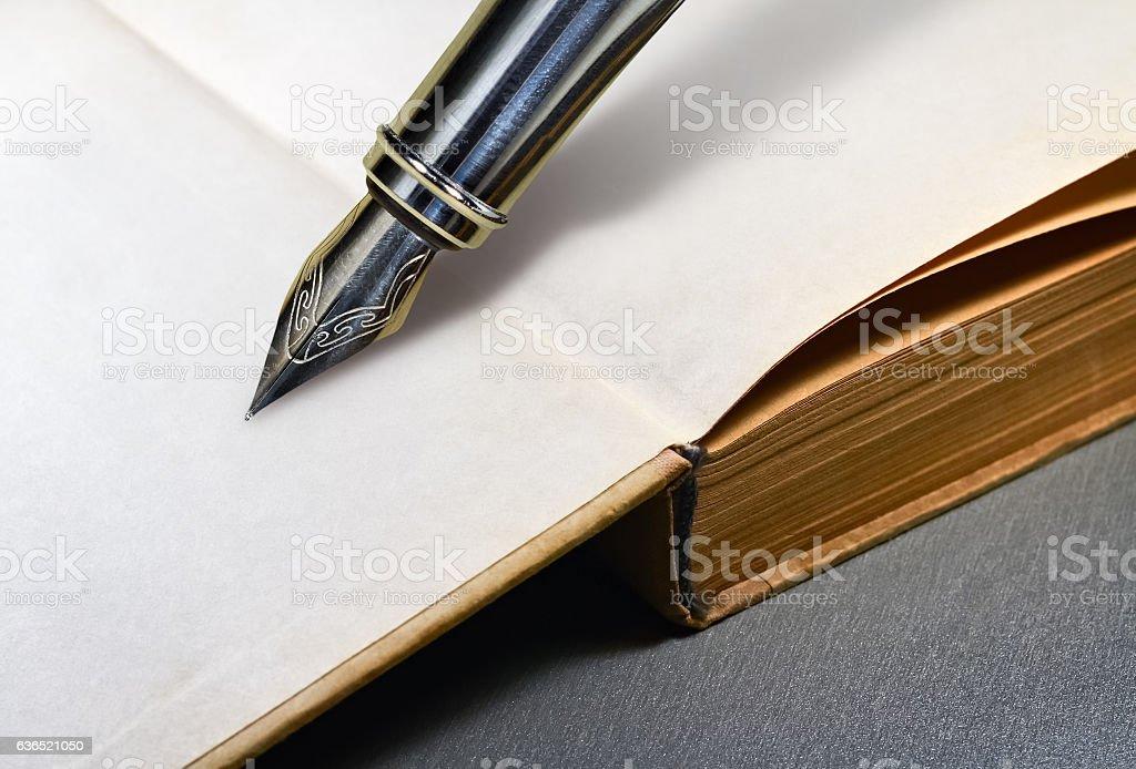 Book and fountain pen stock photo