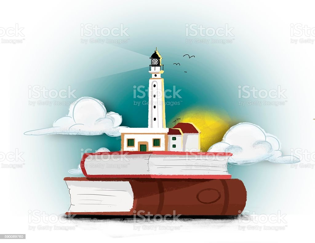 Book and lighthouse stock photo
