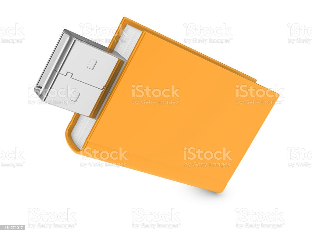 Book and USB Flash Drive royalty-free stock photo