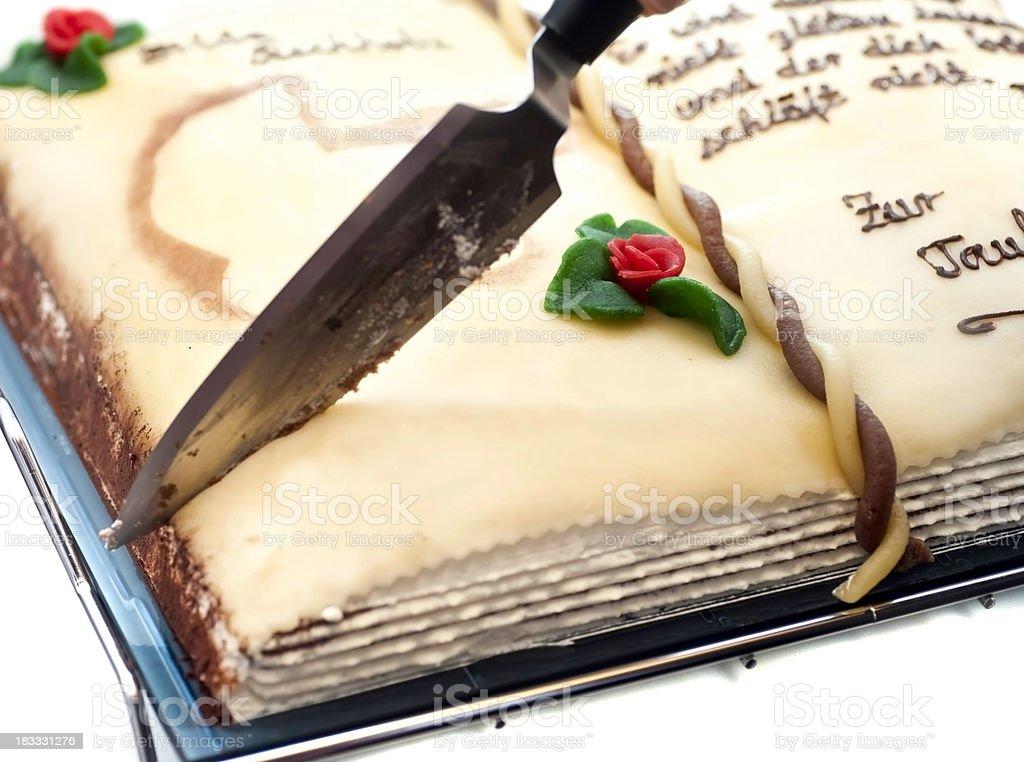 book cake zur Taufe Kuchen als Buch stock photo