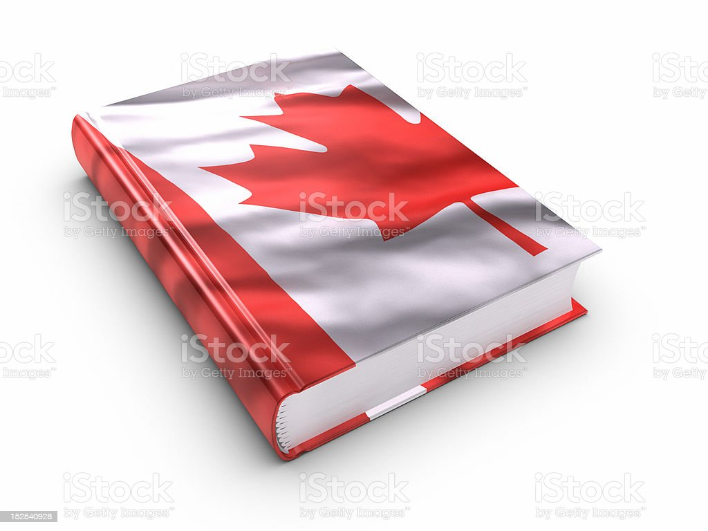 Book covered with Canadian flag. (isolated) royalty-free stock photo