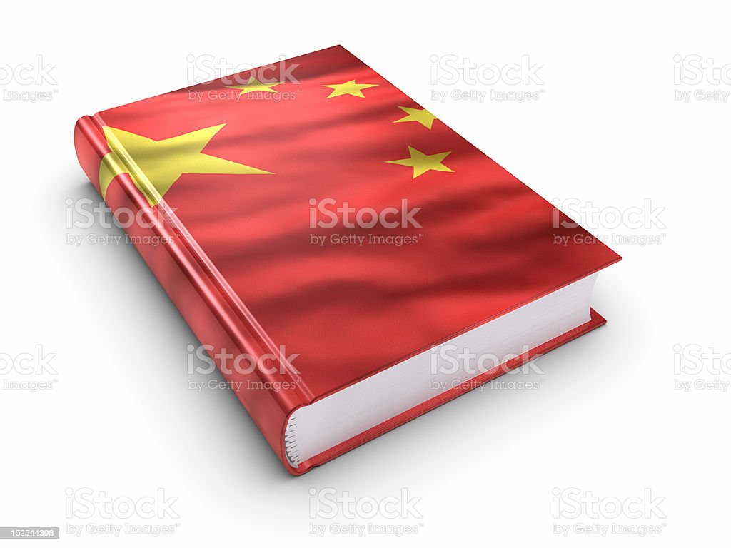 Book covered with chinese flag. (isolated) royalty-free stock photo