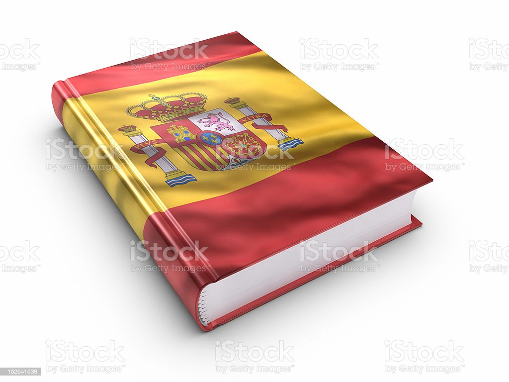 Book covered with Spanish flag. (isolated) royalty-free stock photo