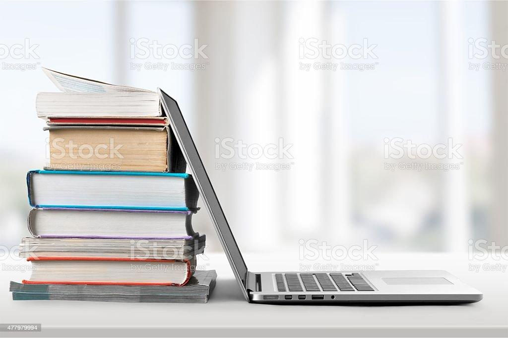 Book, Education, Laptop stock photo