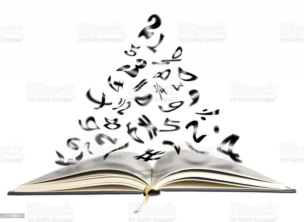 Book ,flying numbers royalty-free stock photo