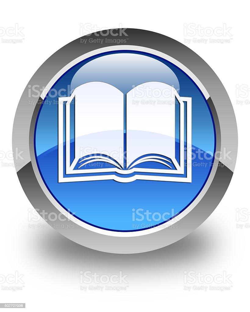 Book icon glossy blue round button stock photo