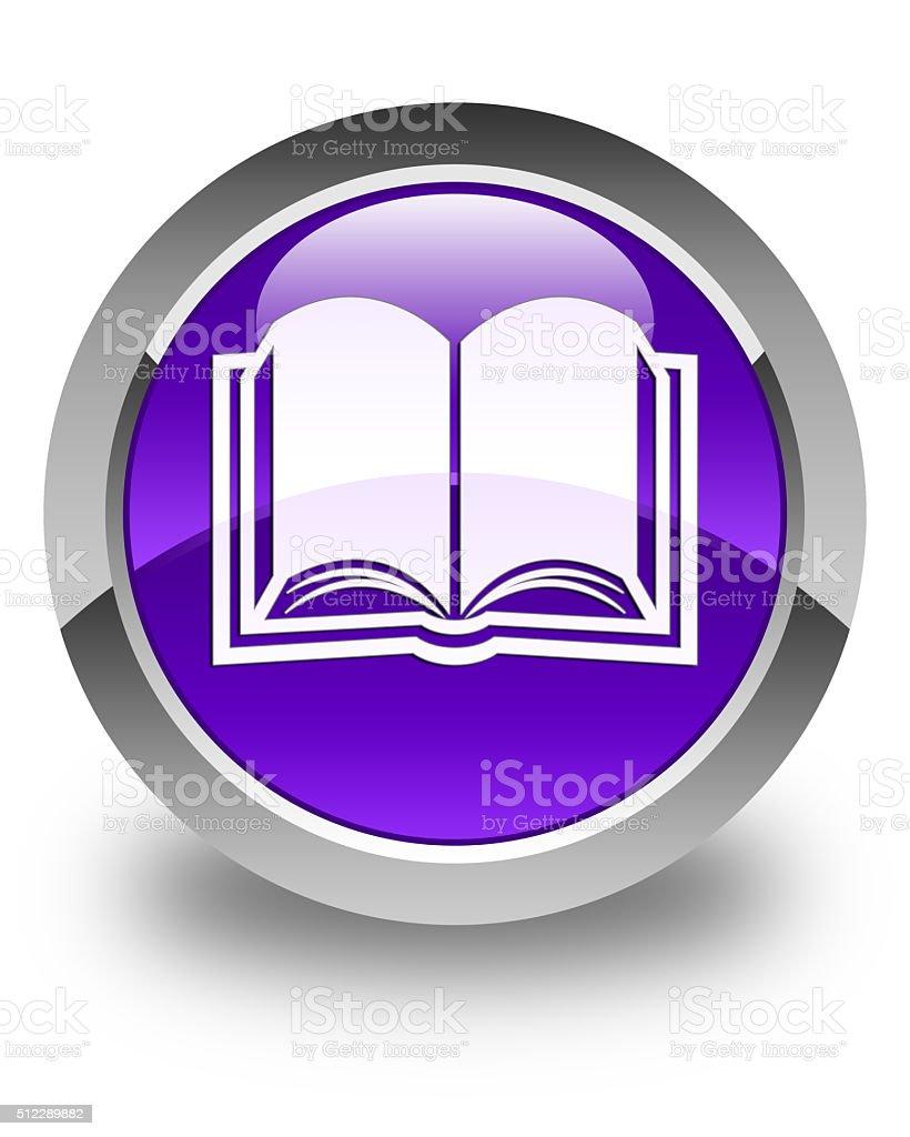 Book icon glossy purple round button stock photo