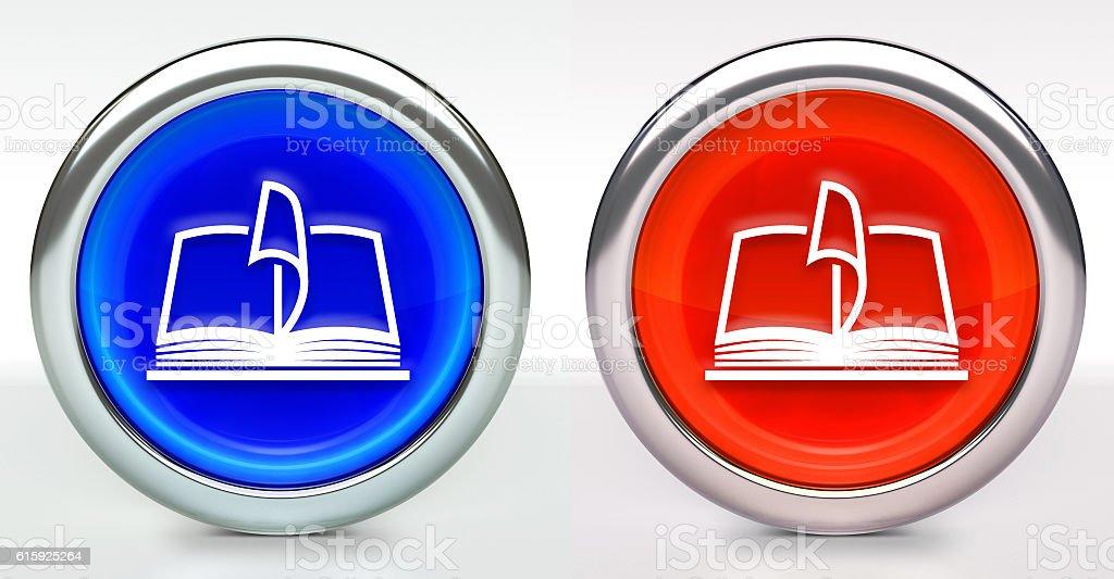 Book Icon on Button with Metallic Rim stock photo