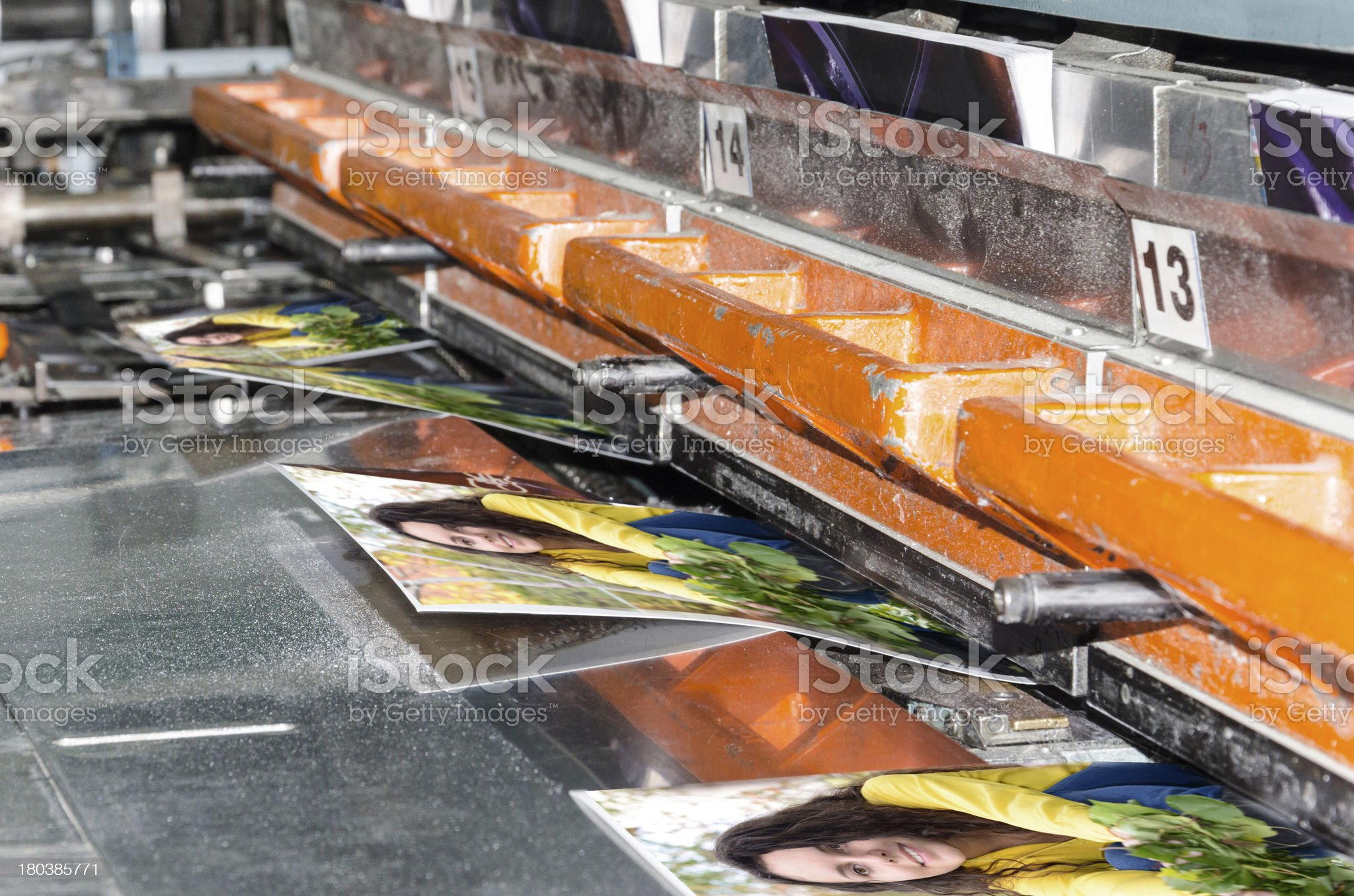 book, magazine production line into press plant house. Binding product. royalty-free stock photo