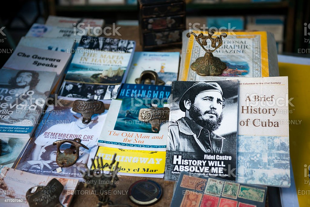 Book market at Havana's Plaza de Armas stock photo