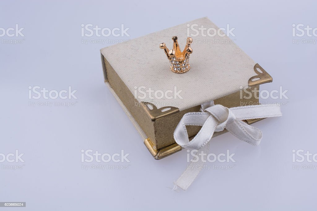 Book model and Golden color crown model stock photo