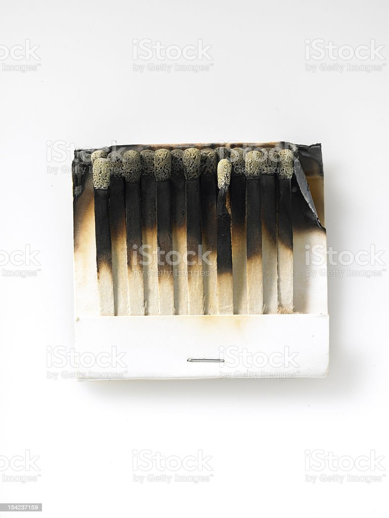 book of burnt out matches on white stock photo