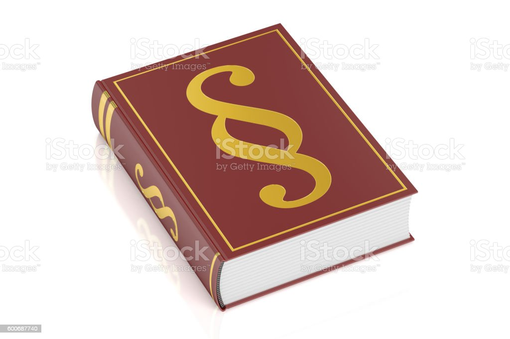 book of justice, book with paragraph symbol, 3D rendering stock photo