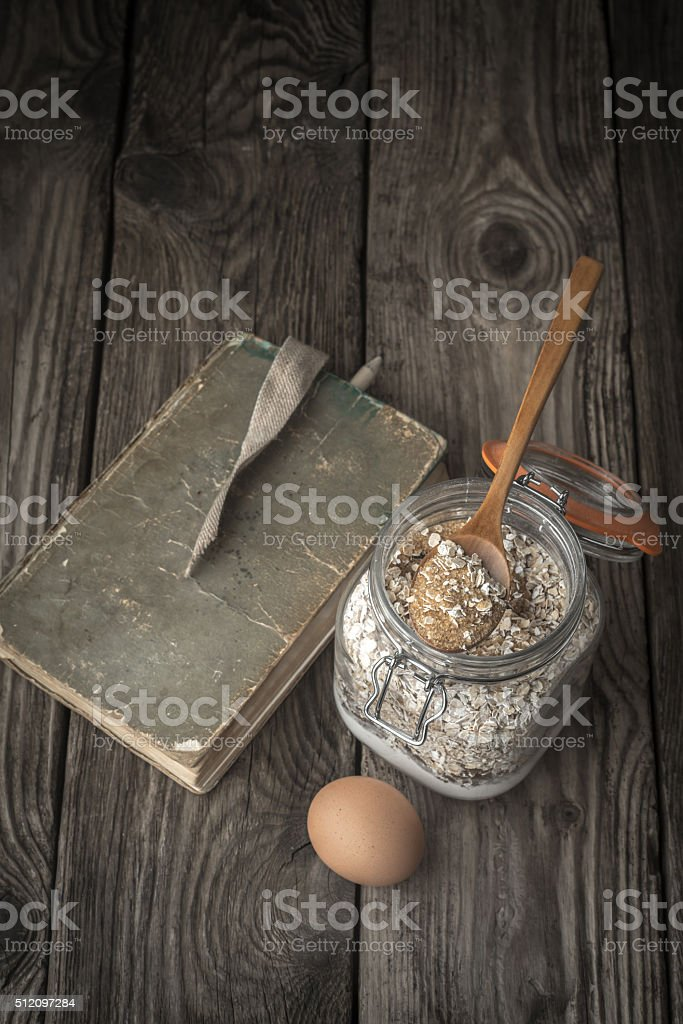 Book of recipes and ingredients for cookies stock photo