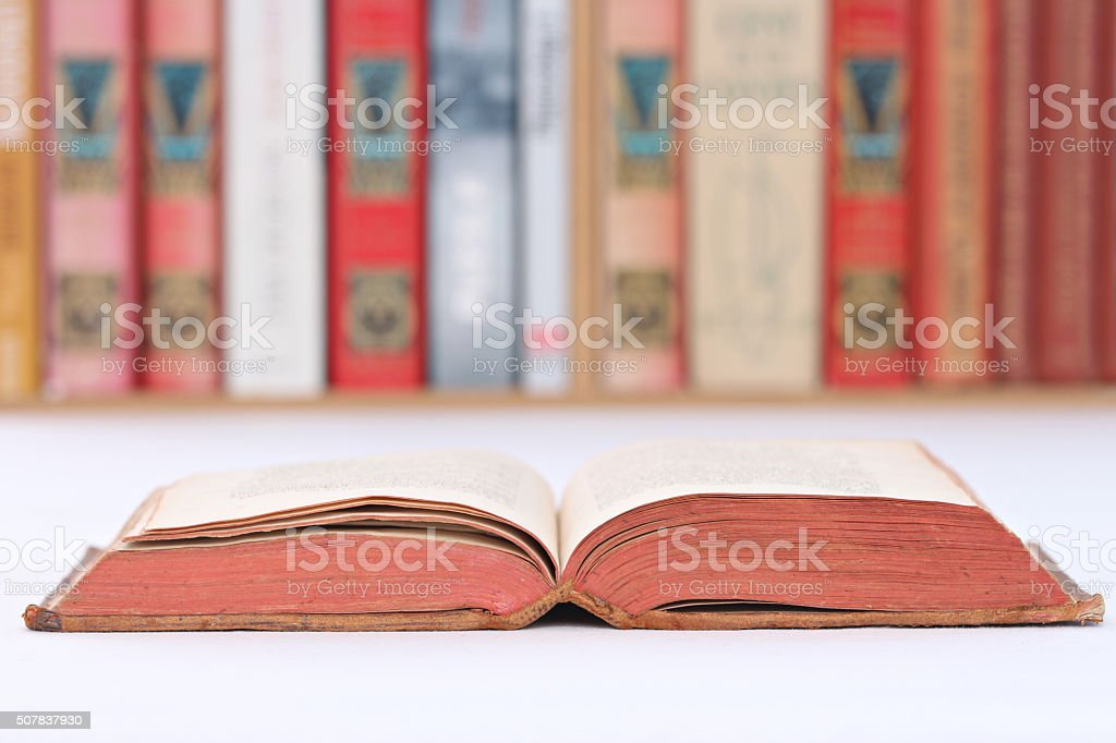 book on a table stock photo
