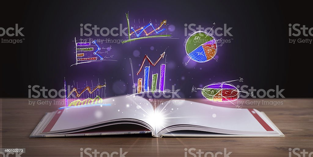 Book on wooden deck with glowing graph illustrations stock photo