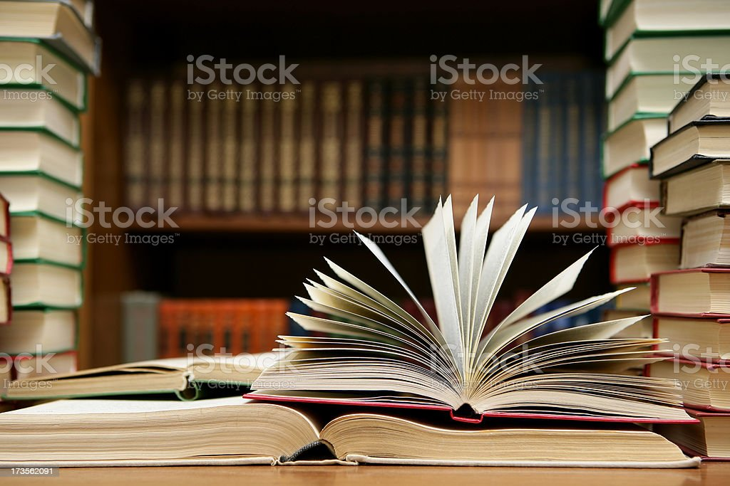 Book open with pages flipping open stock photo