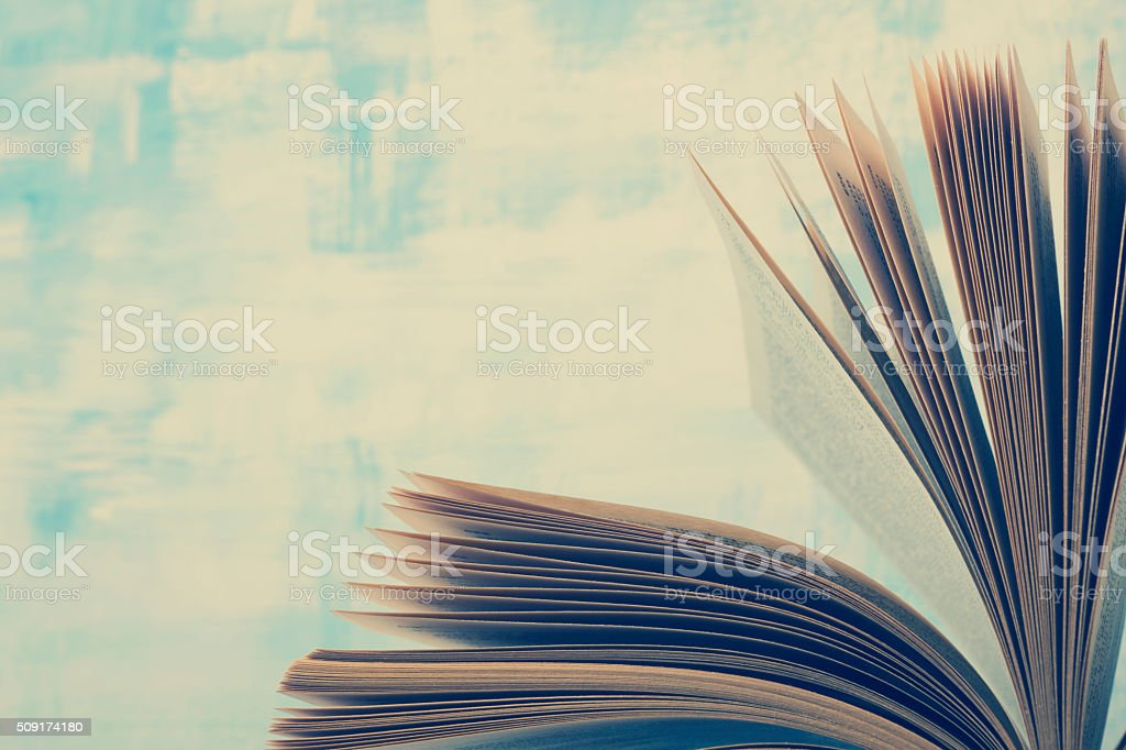 Book pages macro view. Toned image. Copy space for text stock photo