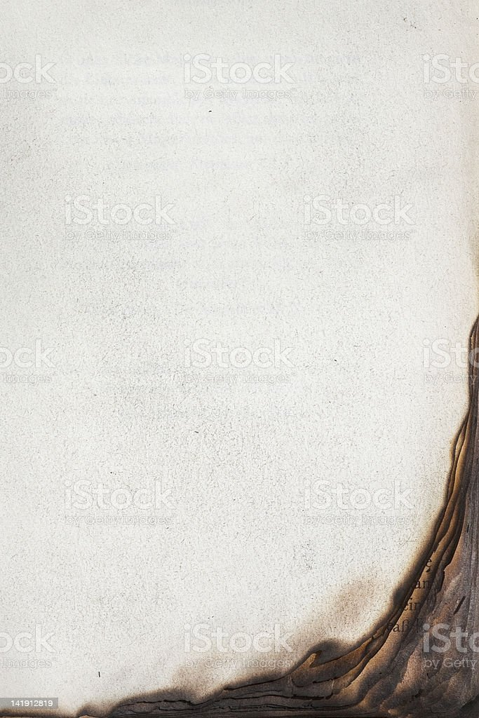 Book pages with burnt edge stock photo