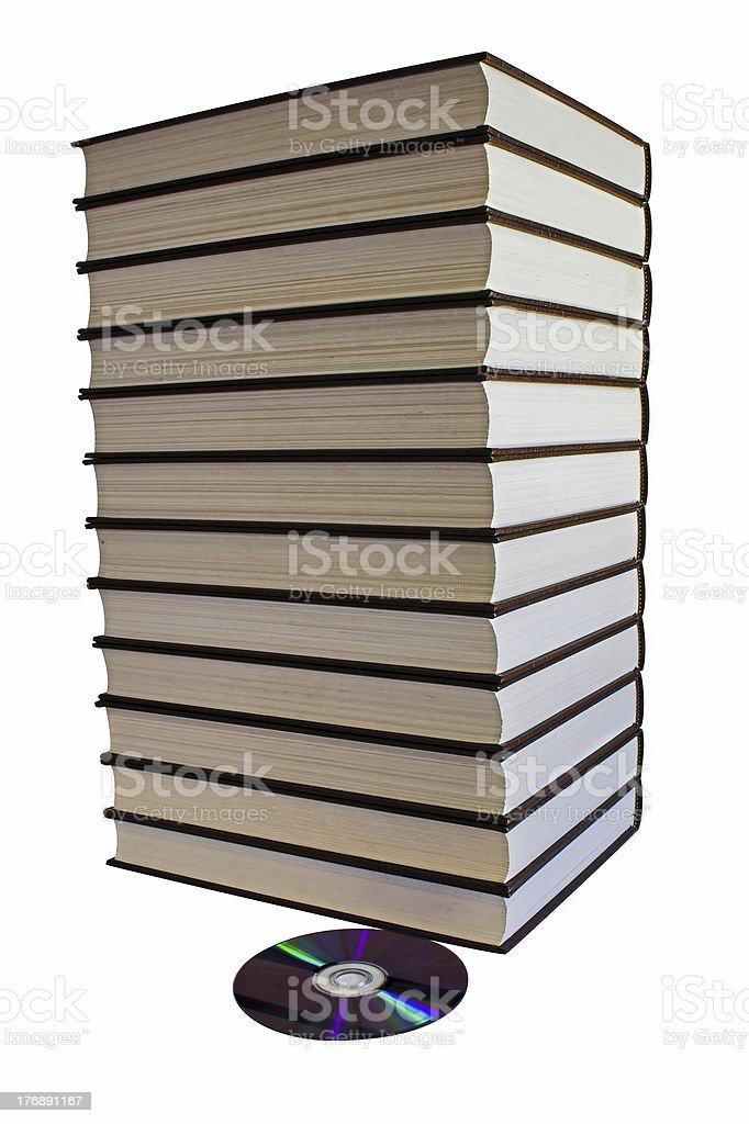 Stos książki i jeden dysk DVD zbiór zdjęć royalty-free