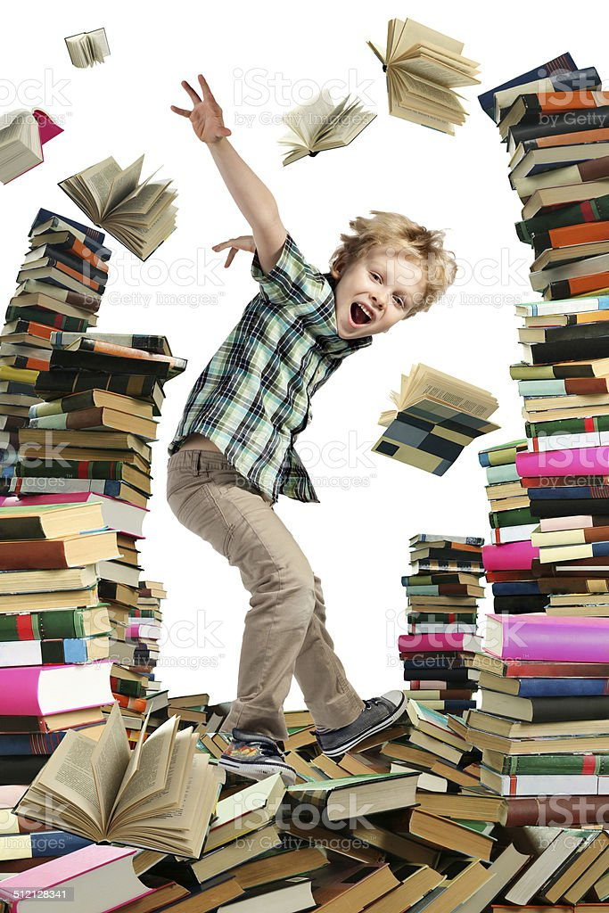 Book sellout and boy-reader stock photo