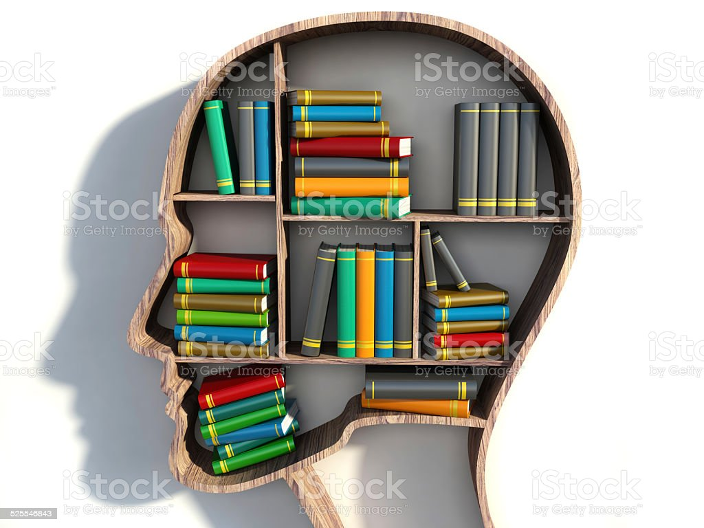 book shelf in form of head on white backgrounds stock photo