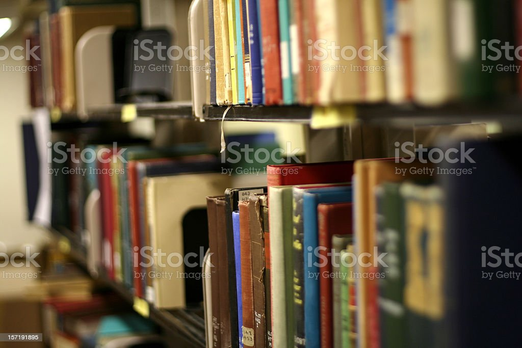 Book Shelves in Library with Narrow Focus royalty-free stock photo