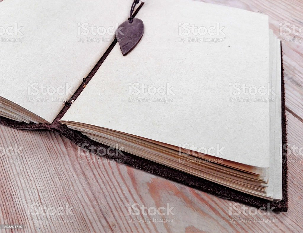 book sketches a leather cover stock photo