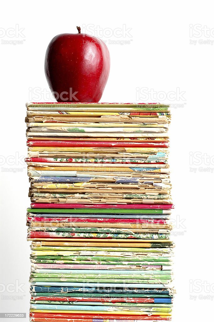 Book Stack and Apple stock photo