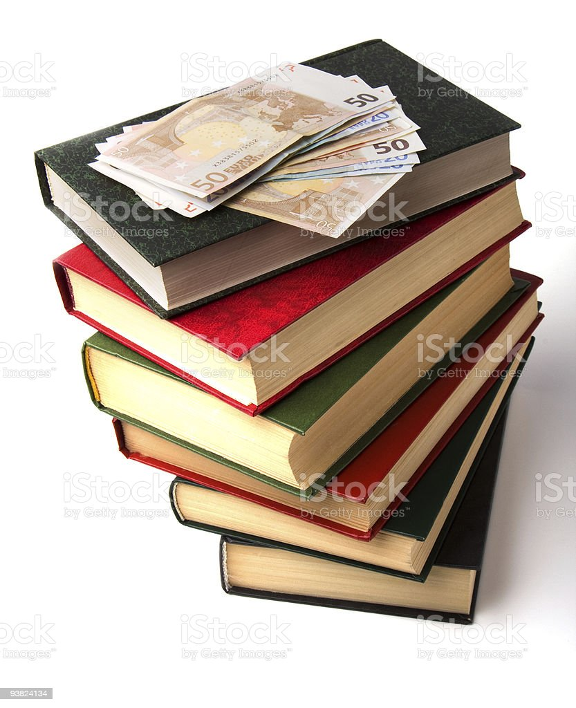 book stack and money on white background royalty-free stock photo