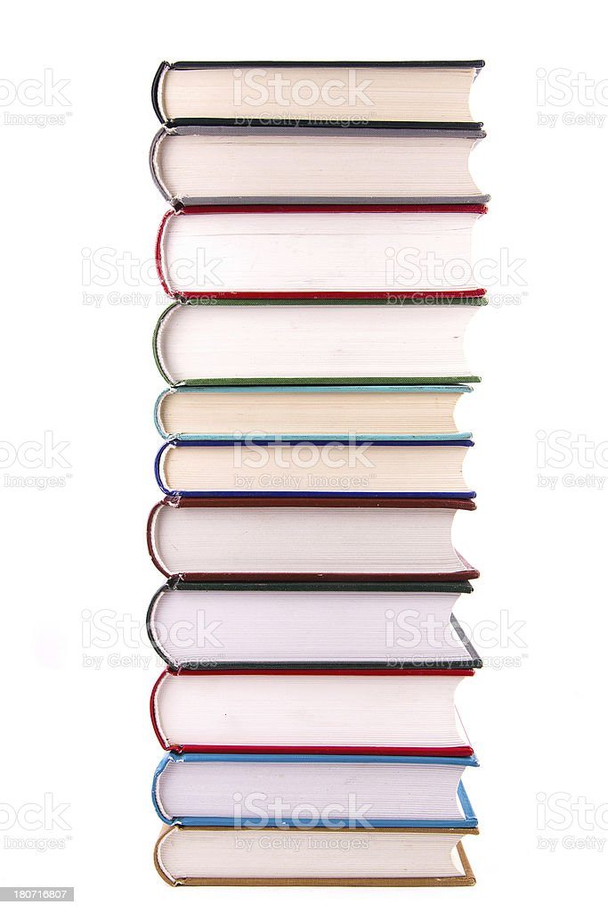 book stack isolated on white background royalty-free stock photo
